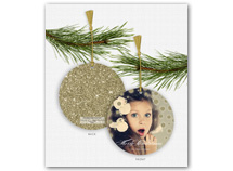 Golden Sparkle & Shine Photo Ornament Holiday Card